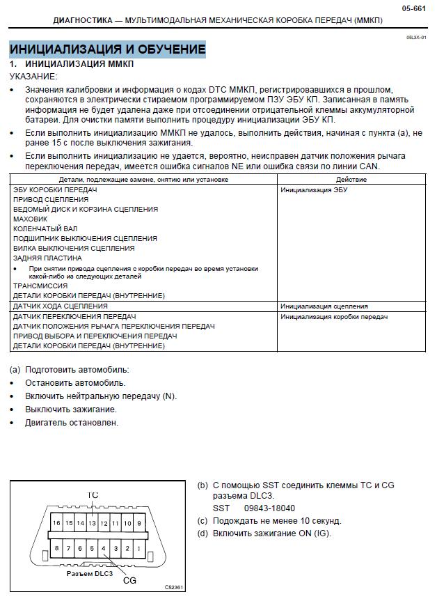Ремонт ММТ Corolla Verso инициализация