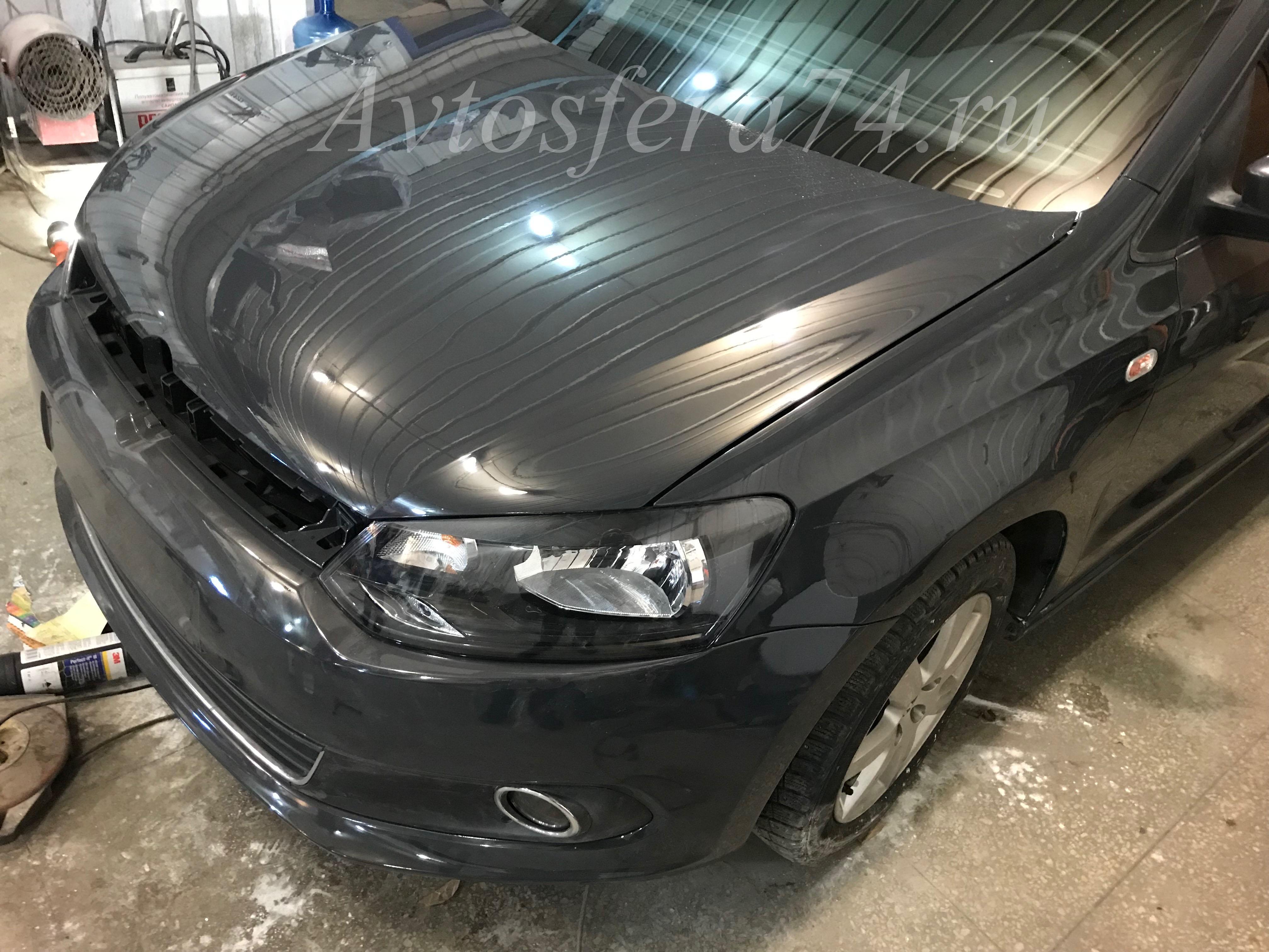 Volkswagen Polo Sedan после ремонта капот